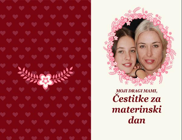 Čestitka za materinski dan z rožnato obrobo