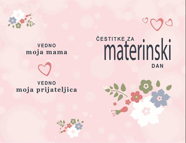 Čestitka za materinski dan v rožnati barvi