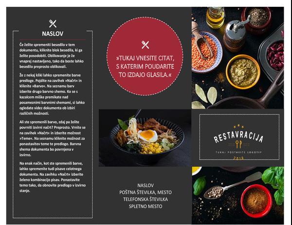 Brošura za restavracijo