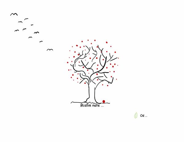Kartica z voščilom z motivom drevesa