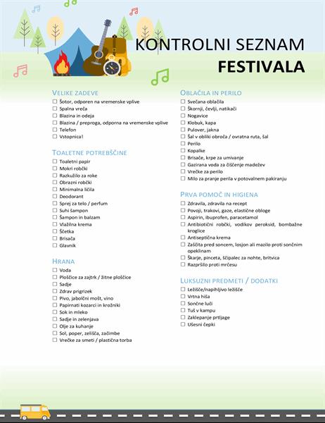 Kontrolni seznam festivala