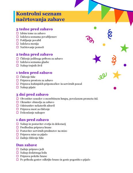 Kontrolni seznam načrtovanja zabave