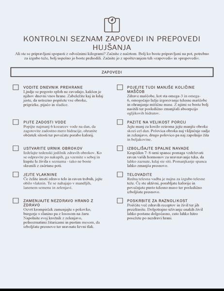 Kontrolni seznam zapovedi in prepovedi hujšanja
