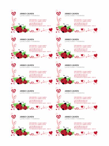 Vizitke (pikapolonice in srca, poravnano levo, 10 na stran)