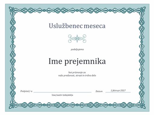 Priznanje za uslužbenca meseca (motiv modre verige)
