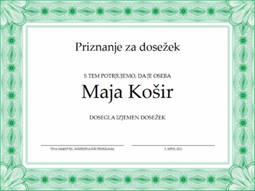 Priznanje za dosežek (zeleno)
