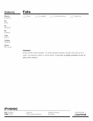 Poslovna naslovnica faksa