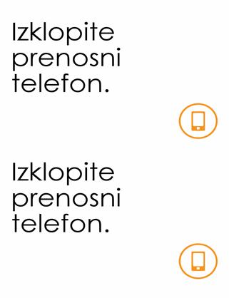 Plakat z opomnikom za izklop prenosnega telefona