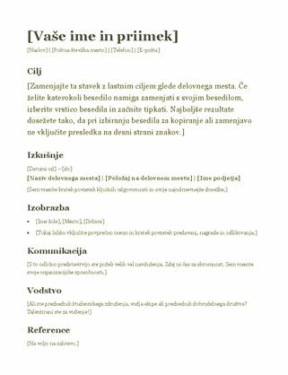 Življenjepis (zeleno)