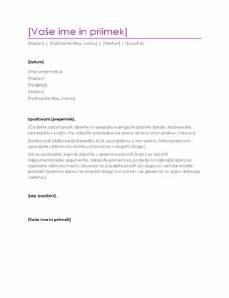 Spremno pismo življenjepisa (vijoličasto)
