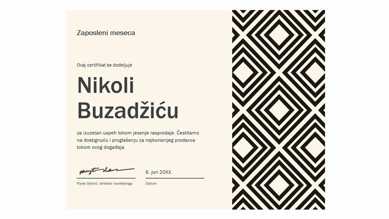 Certifikat – radnik meseca