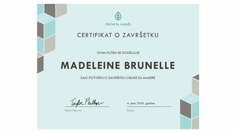 Certifikat o završetku