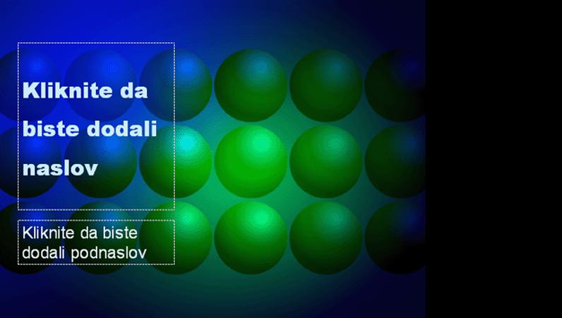 Dizajn predloška sa plavim i zelenim loptama