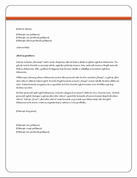 Pismo za objedinjavanje pošte (tema za akcije)