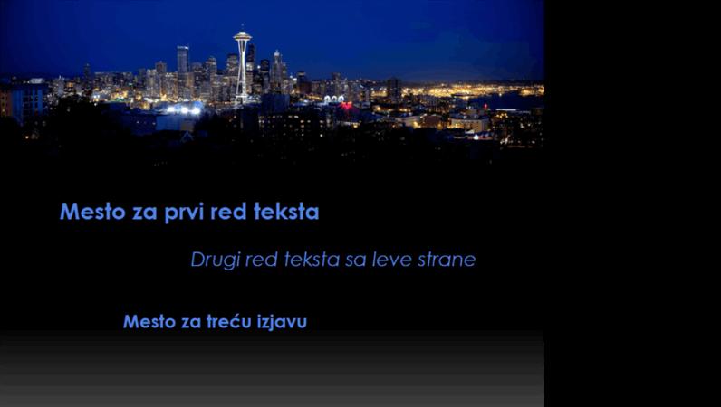Animirani naslovi se premeštaju i menjaju boju na slici grada Sijetla
