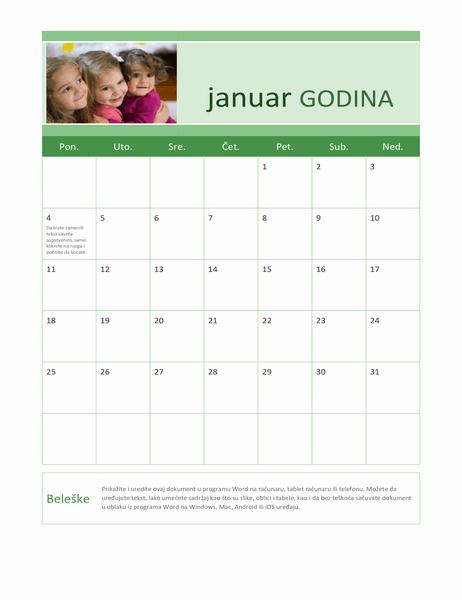 Porodični kalendar fotografija (bilo koja godina)