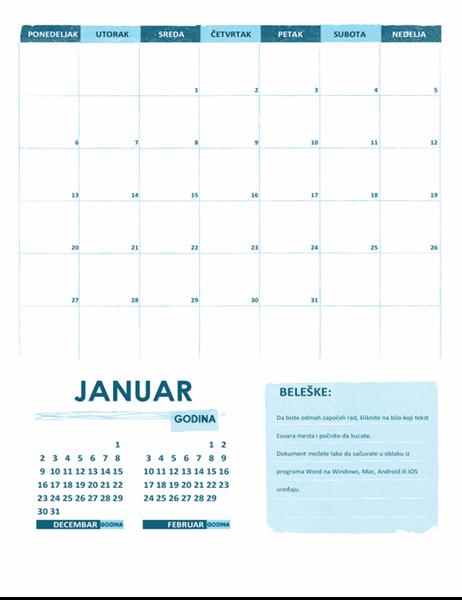 Akademski kalendar (jedan mesec, bilo koje godine, početni dan sedmice je ponedeljak)