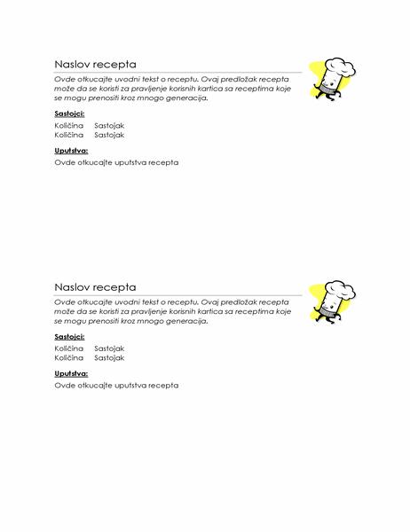 Kartice sa receptima (2 po stranici)