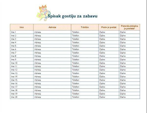 Spisak gostiju za zabavu