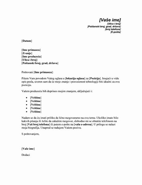 Uvodno pismo kao odgovor na oglas za tehničkog stručnjaka