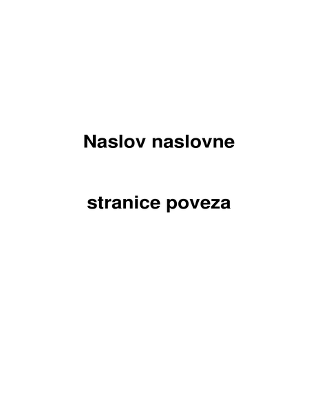 Naslovna stranica poveza