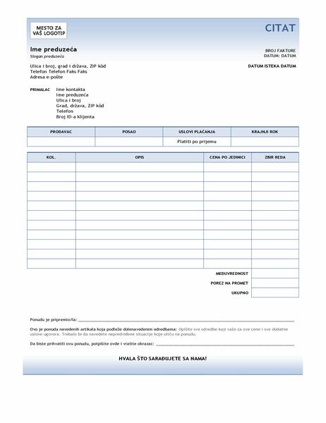 Ponuda za servis (dizajn sa plavim prelivom)