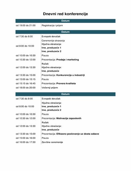 Dnevni red konferencijskog događaja