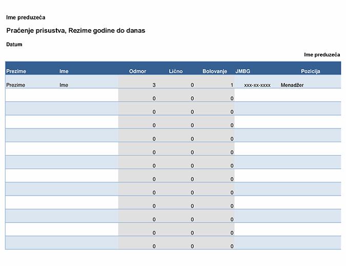 Zapis o prisutnosti zaposlenog