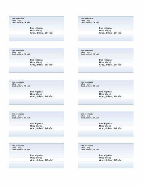 Nalepnice za isporuku (dizajn sa plavim prelivom, 10 po stranici)