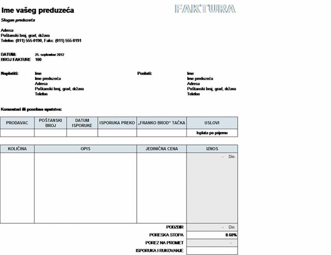 Izlazna faktura sa izračunatim porezom, isporukom i rukovanjem