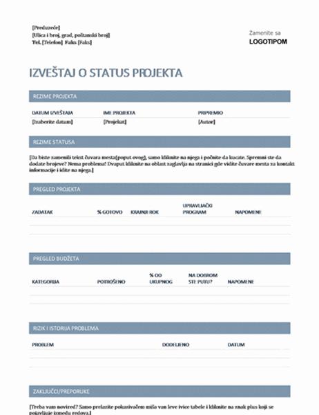 Izveštaj o statusu projekta