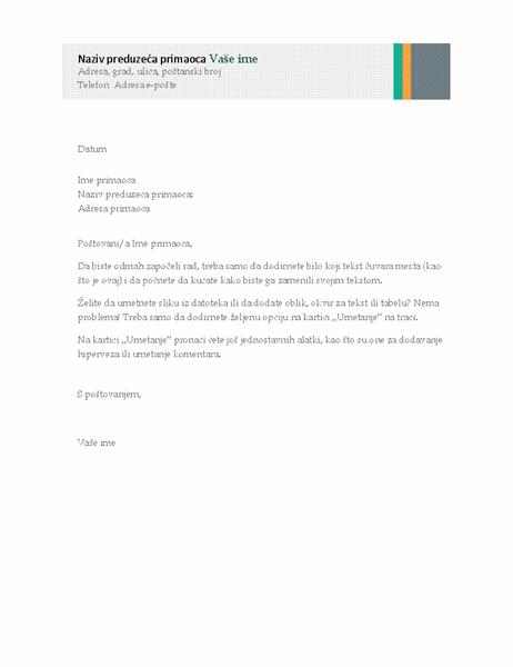 Poslovno pismo (prodajni dizajn sa prugama)