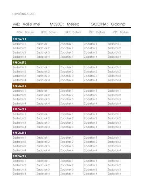 Sedmičnim kalendar domaćih zadataka