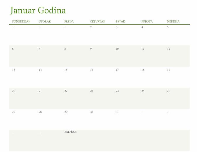 Svi godišnji kalendari (1 mesec po kartici)