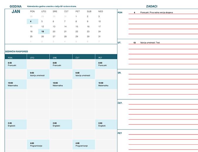 Studentski kalendar (pon)