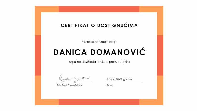 Certifikat o dostignućima (plavi)