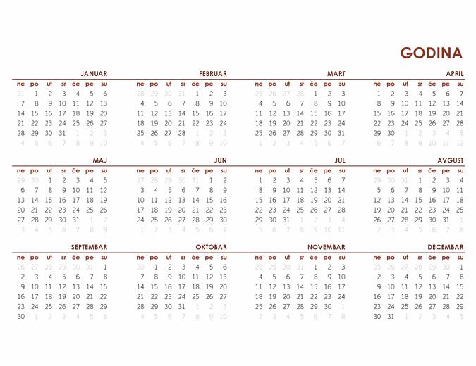 Globalni kalendar za celu godinu