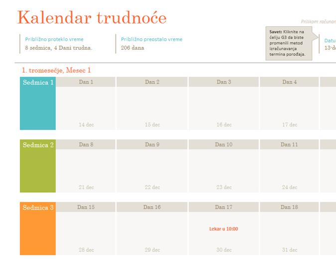 Kalendar trudnoće