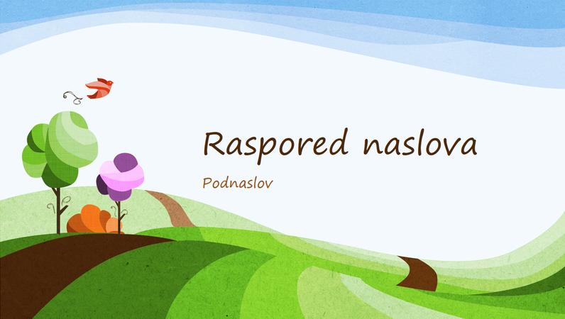 Prezentacija na temu prirode, ilustrovani dizajn pejzaža (široki ekran)