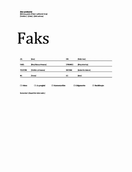 Naslovna stranica faksa