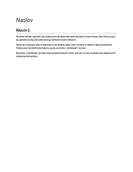 Dizajn izveštaja (prazno)
