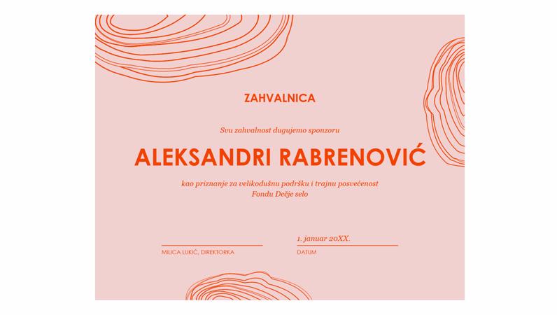 Certifikat poštovanja za sponzora