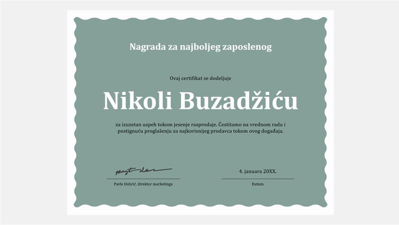 Certifikat za najboljeg zaposlenog