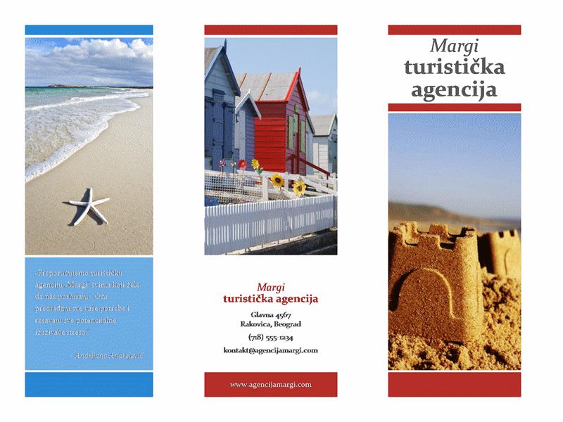 Triptih putna brošura (crveni, zlatni, plavi dizajn)