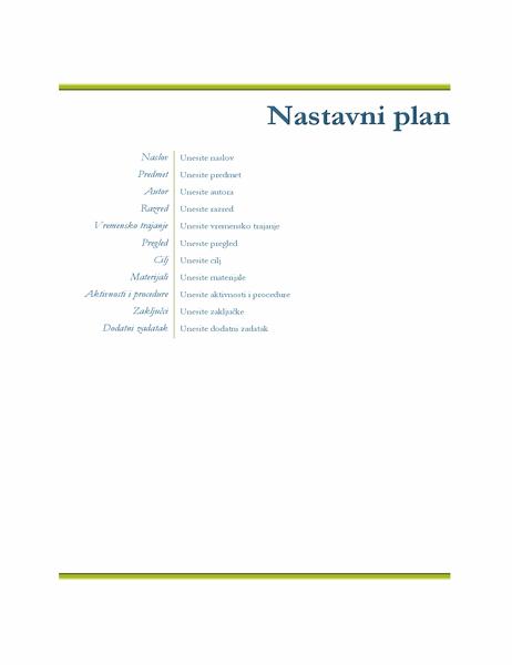 Nastavni plan za nastavnike