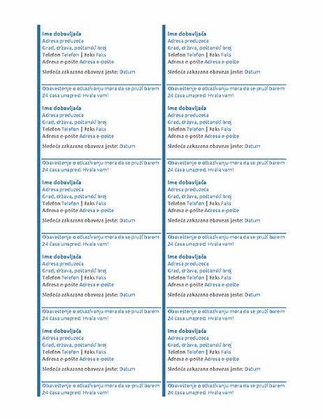 Kartice zakazane obaveze (10 po stranici)