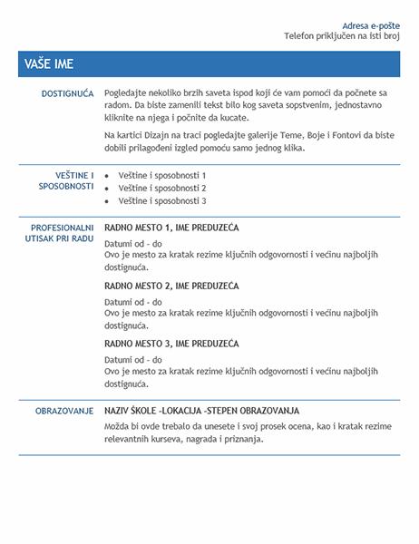 Rezime za prenos unutar preduzeća