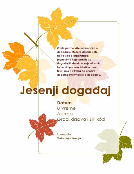 Letak za jesenji događaj (sa lišćem)