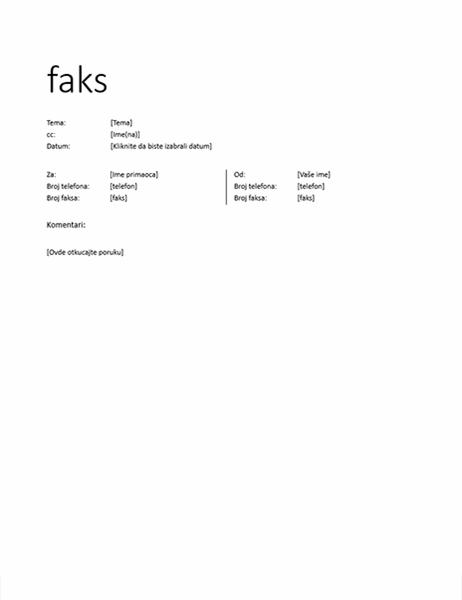 Naslovna stranica faksa (neformalno)