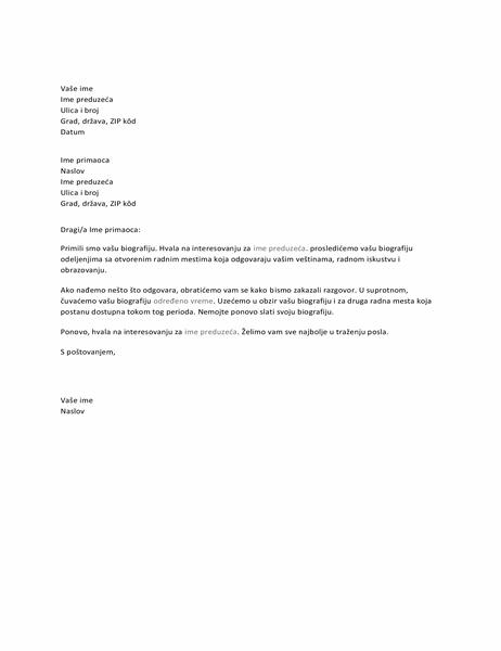 Pismo za kandidata za posao koje potvrđuje prijem
